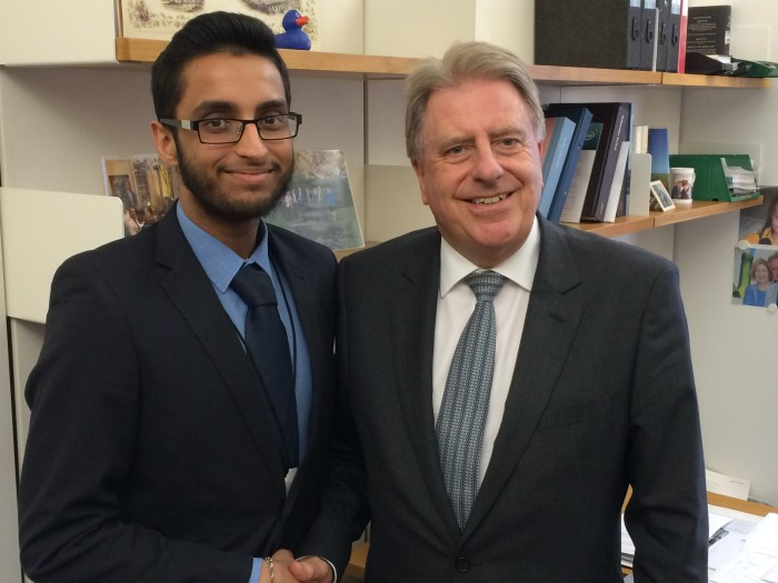 With Aaran Gedhu from Welling, during his week's work experience in Parliament