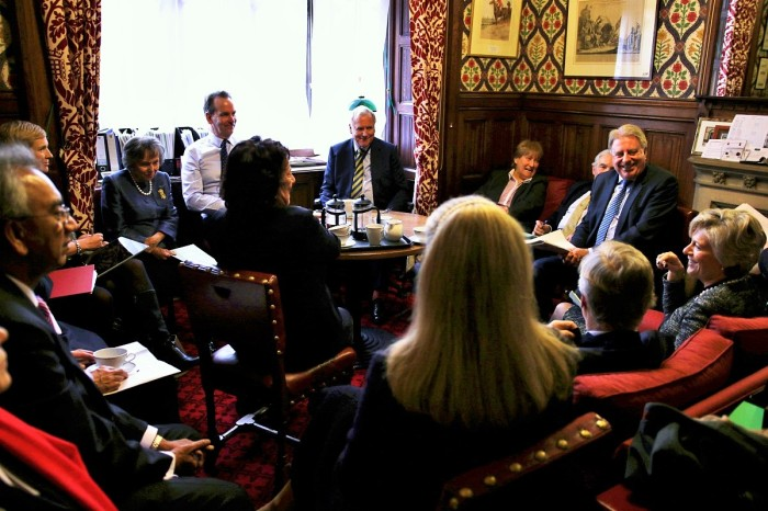 At the weekly Whips meeting in the House of Lords