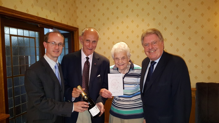 Congratulating Bernard and Edna Clewes on their 60th Anniversary