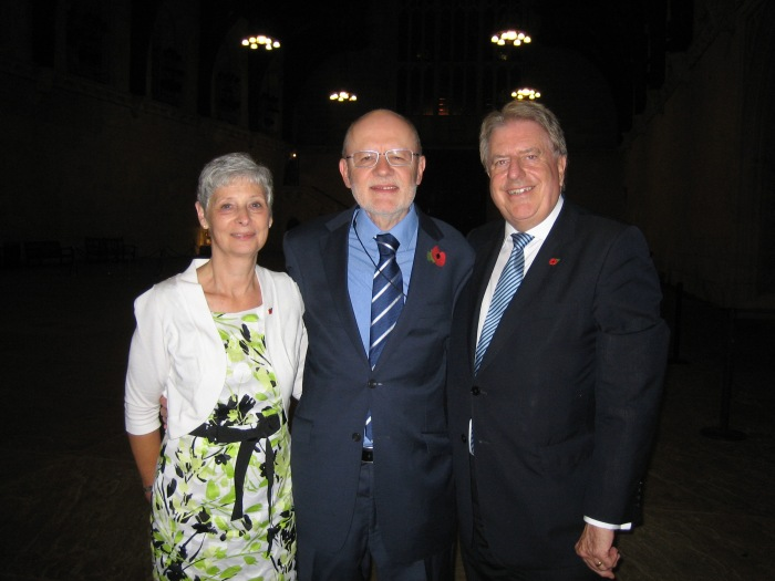 Pictured in Westminster Hall with old school friend Jim Milbourne and his wife Ansley
