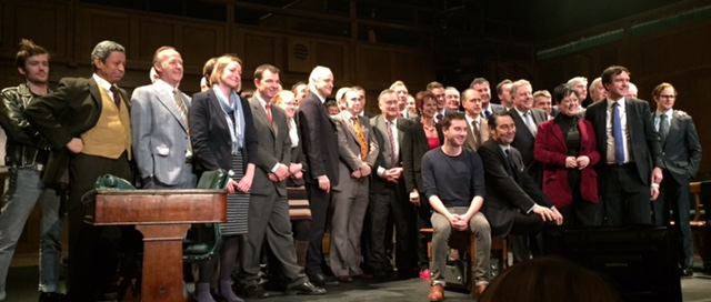 Conservative and Labour Whips on stage with the cast of 'This House' at the Garrick Theatre, after the brilliant portrayal of the Whips Office in the House of Commons during the Labour Government of 1974-79