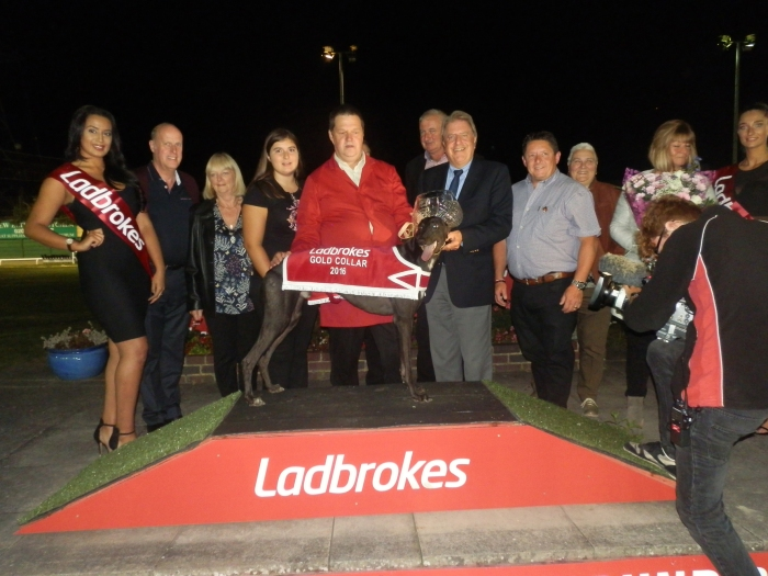 At the Crayford Greyhound track watching local dog Yahoo Victor win the Ladbrokes Golden Collar