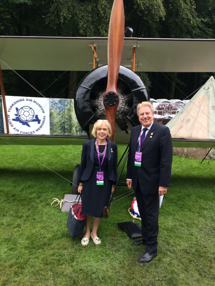 With Sue Owen, Permanent Secretary for Department for Culture, Media and Sport, at Thiepval in front of the Yorkshire Air Museum's Allied Air Forces Memorial