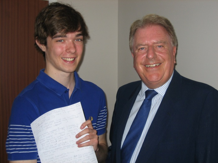 Meeting Bexley Grammar Student, Ethan Bremerkamp, to discuss political issues