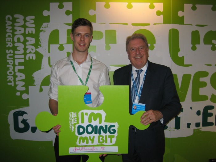 With Ben Parker from Macmillan, discussing the fantastic work of the charity