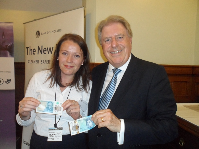 With Sara Huggins, from the Bank of England, at the drop-in reception in Parliament for the new £5 note