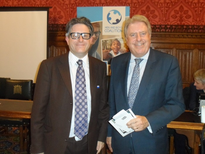 With Mark Brooks, Member of the Men and Boys Coalition Organising Committee, at the launch of the Men and Boys Coalition in Parliament