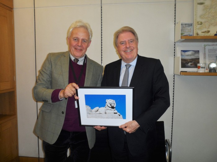 With Duncan Wilson, Chief Executive of Historic England, being presented with a picture of the Portsmouth Naval Memorial, which I upgraded to Grade I as Acting Heritage Minister