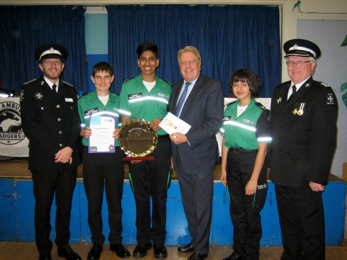 With the St Johns Ambulance Group for their Enrolment and Awards Evening at Brampton Primary Academy
