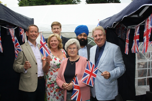 Pictured left to right: Cllr Gareth Bacon AM, Therese Oliver, Mathew Scott, Maureen King, Amandeep Bhogal, Rt Hon David Evennett MP