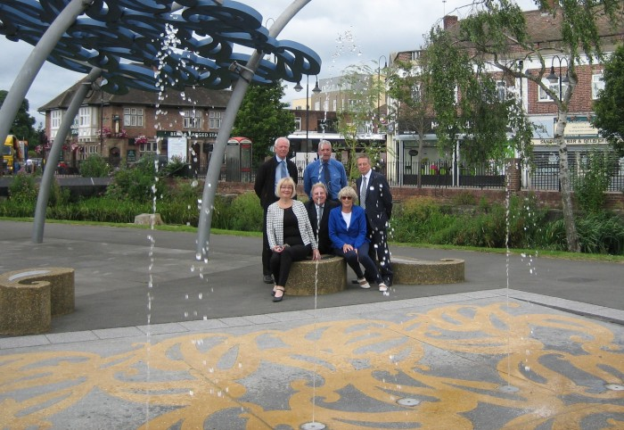 Switching on the fountains at Waterside Gardens Crayford 11 July 2016