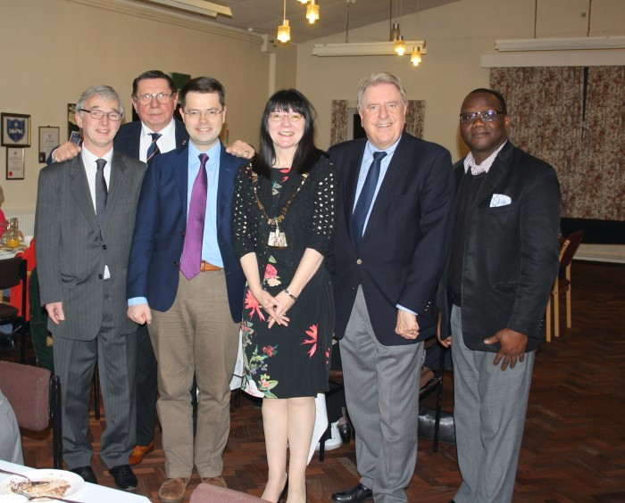 Pictured from left to right Roger Forward, Robert Munson, Rt Hon James Brokenshire MP, Cllr Eileen Pallen, Rt Hon David Evennett MP, Rev George Quarm)